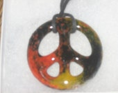 Peace Sign Pendant Fused Glass