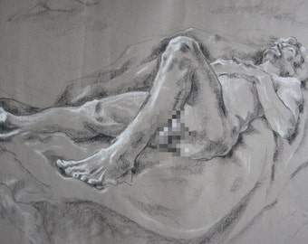 Curved Recline, original life drawing of reclining model mature