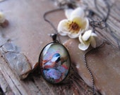 pink and black glass chickadee pendant - limited edition copper or silver bird necklace