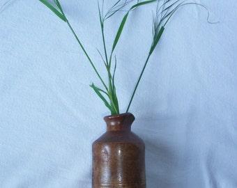 C1900 Ink Pot Bottle Antique Signed French Vintage Encrier Saltglaze Stoneware Pottery