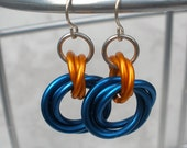 Fascination - Blue Orange and Silver Chainmaille Earrings