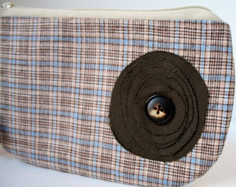 Brown Plaid Fabric Wristlet, IPhone Wristlet, SmartPhone Wristlet, Zippered Wristlet