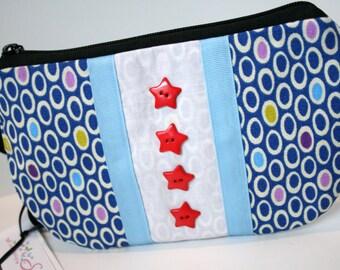Chicago Themed Wristlet, Chicago Flag Bag, Wristlet Bag, Chicago Wristlet Purse