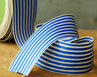 "5 Yards of Royal Blue and Ivory Striped Grosgrain Ribbon 1.5"" wide"