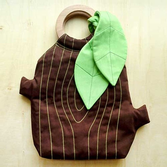 Clearance SALE Handbag, Tree Stump Bag, Tree Trunk Purse, Tree Bag, The Woodlands Purse, BROWN Color with Apple Green Leaf Ribbon
