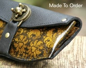 Women's Leather Wallet - Baroque Steampunk on Yellow with Antique Brass Hardware - Made To Order
