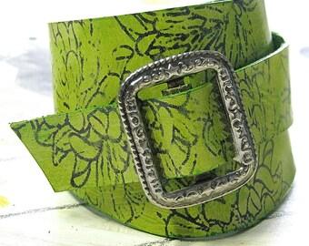 Gwyneth Leather Wrist Wrap Cuff - Green Floral - Antique Silver Buckle
