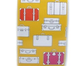 Passport Cover - Pack Your Bags - cute retro luggage themed passport holder - honey gold, red, magenta