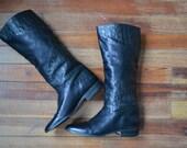 VTG Mint Condition Black Leather Cowboy Boots / Size 7
