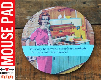 Hard Work funny JOB boss mouse pad Vintage Fashion retro postcard scene oh yeah office desk mousepad gifts under 20