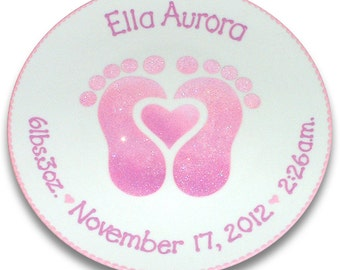Baby Feet Personalized Birth Plate