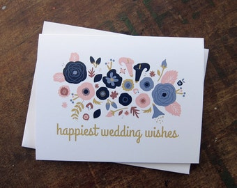 Wedding Card, Congratulations - Floral Garden Bouquet - Wedding Wishes