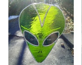 Roswell, Stained Glass Alien Head Sun catcher, Green,  Extraterrestrial, Alien Face, Eerie gift for a UFO fan