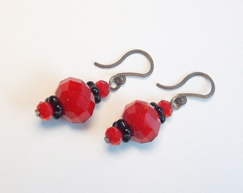 Red & Black Earrings on Plastic Ear Hooks, elegant dangle earrings, Nylon French Hook Ear Wires, metal allergies, crystal and glass beads