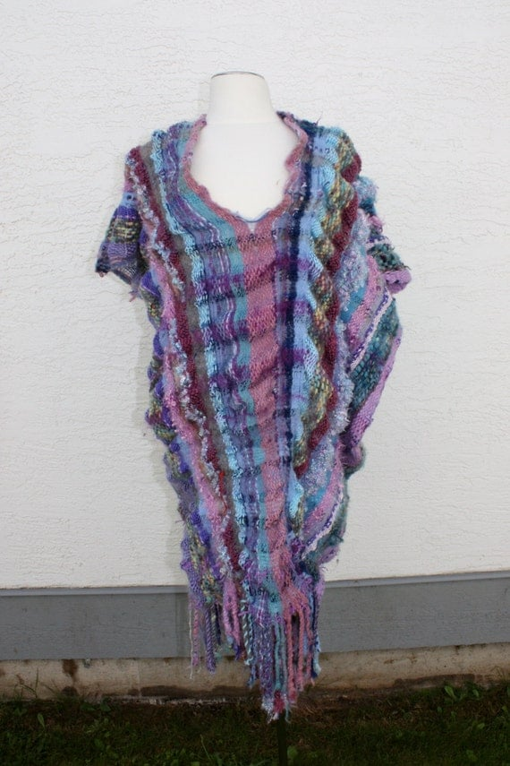 Sangria, a woven dress in purples, asymmetrical design 4-16