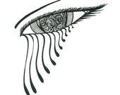 Original art - Black and white abstract eye drawing
