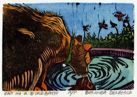 Original Linocut with Watercolor Cat Bird Bath Mini DelPesco
