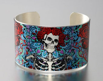 Photo Cuff, Brass Cuff Bracelet, Altered Art Jewelry, Photo Jewelry - Deadhead Skeleton and Roses - Sealed in Resin