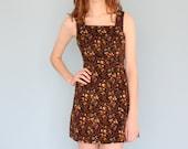 vintage 70s wildflower corduroy bow sleeveless floral mini dress