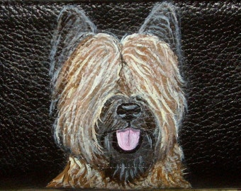 Briard Dog  Custom hand Painted Ladies Leather Wallet Purse