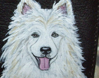 Samoyed Dog Custom hand Painted Ladies Leather purse Wallet for women