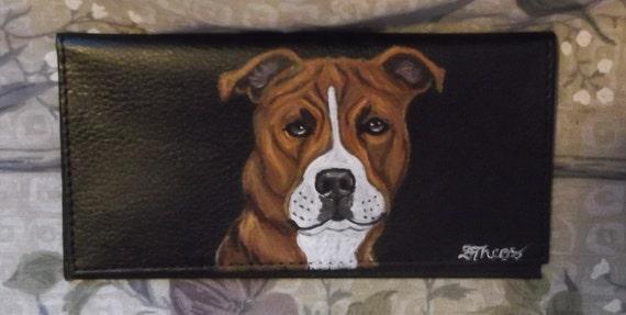 Pit Bull Terrier Dog Custom Hand Painted Leather Checkbook Cover Checkbook Holder