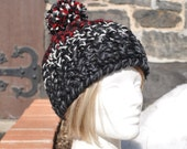 Price Reduced!!  Thick Skullcap with Big Pom Pom - Crochet Hat with Pom Pom - Gray, Black and Red Hat - Women's Hat - Crochet Beanie Hat