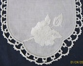 White on White Embroidery,Crochet Trim Cotton Table Doiliesr 9 x 14 Pair FREE SHIP