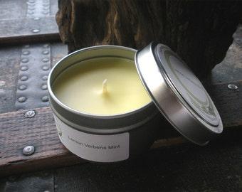 Lemon Verbena Mint Soy Travel Tin Candle 6 oz