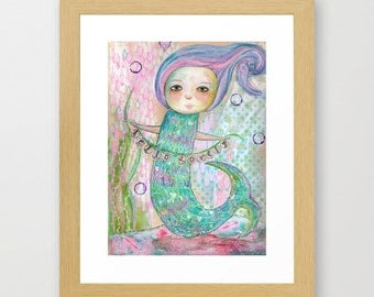 purple, mermaid, hello lovely, art, garland,  mixed-media reproduction print