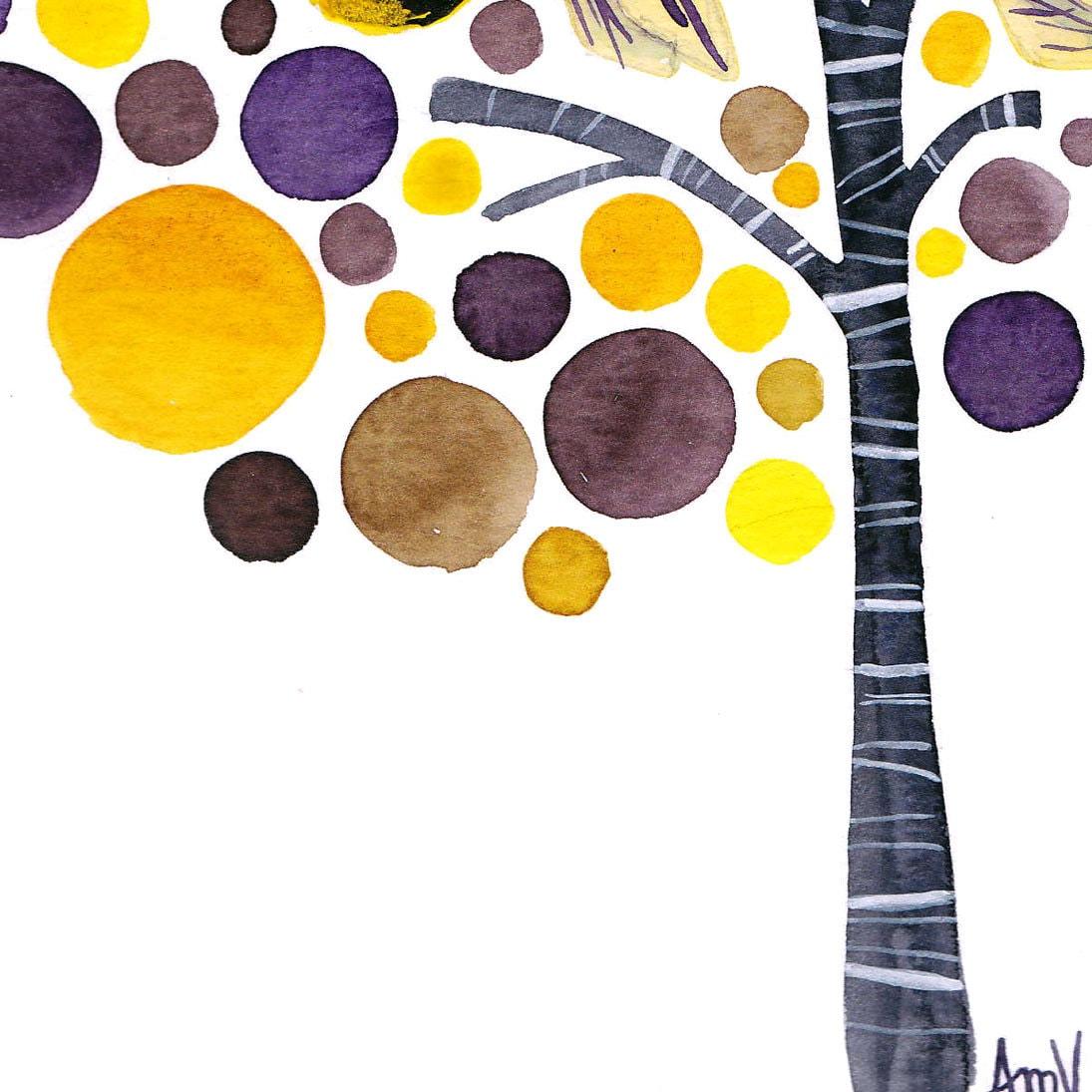 Original Watercolor Art Bumble Bees Original Tree Art Painting Watercolour Wall Art