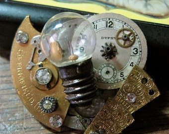 At the Right Time Steampunk Brooch