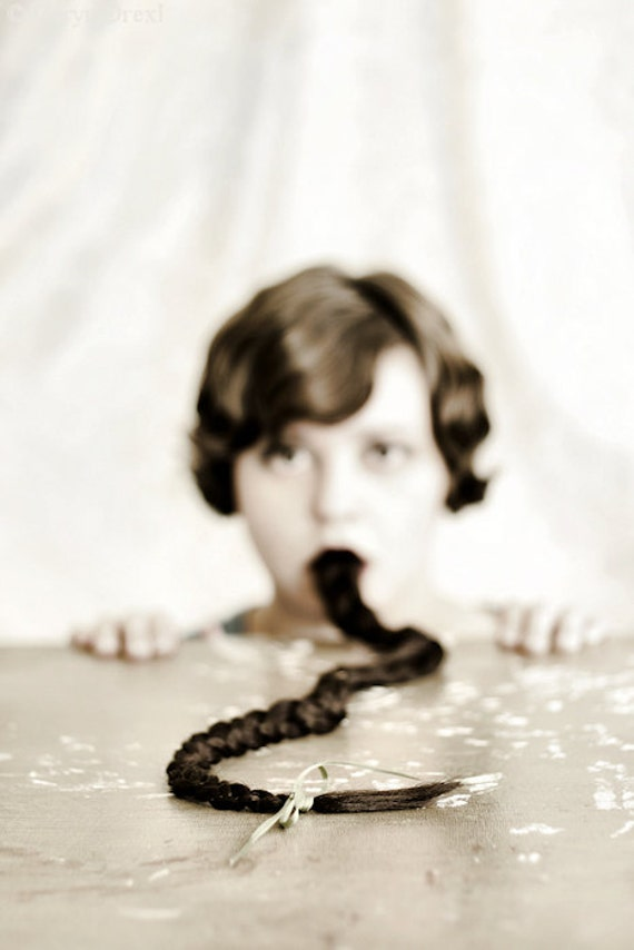 Remains of the day - FREE SHIPPING - Print Girl Braid Mouth Eating Hair DOF Strange Surreal Creepy Portrait Focus Brown White Cream Blue