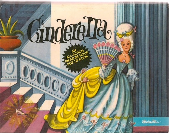 VINTAGE KIDS BOOK Cinderella An All-Action Treasure Hour Pop-Up