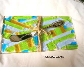 Fused Glass Serving Tray, Glass Cheese Tray with Server, Willow Glass, OOAK, Home Decor
