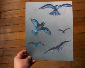 SALE - Birds in Flight - 8 x 10 print