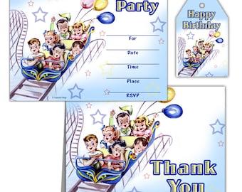 Retro Kids Roller Coaster Birthday Party Invitations INSTANT DOWNLOAD Digital Printable