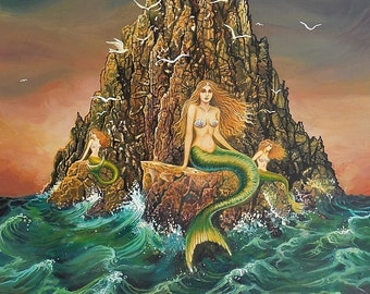 The Mermaids 5x7 Blank Greeting Card Fairy Tale Mythology Art Nouveau Ocean Goddess Art