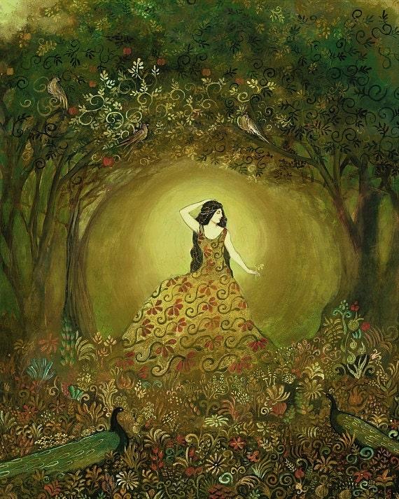 Summers Cauldron 11x14 Fine Art Print Pagan Mythologogy Bohemian Art Nouveau Gypsy Goddess Art