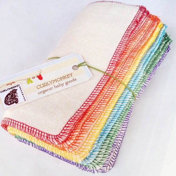 "12 Organic Baby Wipes - Cloth Diaper Wipes - Eco Washcloths: Hemp Organic Cotton Fleece 7"" X 7"". Rainbow. Kids Eco Friendly"