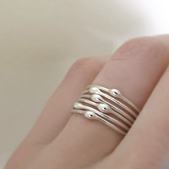 Sterling Silver Stacking Ring Set of Six - Rain Droplet Rings