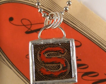 Letter S Initial Pendant Necklace