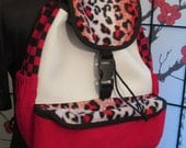 Red/white/black Leopard Checkered Backpack