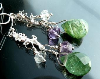 Spring Daisy Dangle Earrings Sterling silver daisies purple amethyst clear quartz crystal green moss agate terrarium briolettes