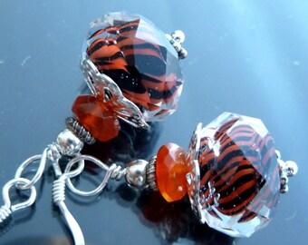 Pumpkin n Black Whirlwind Earrings in sterling silver lampwork glass faceted orange spiral twist chalcedony