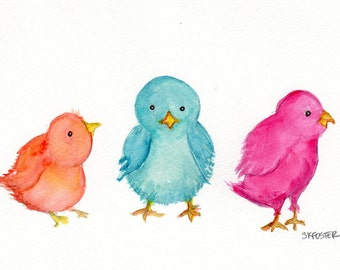 Easter Baby Chicks watercolor painting original, Colorful Baby Chicken watercolor Art, Small baby animal wall art, nursery chicks art, 5 x 7