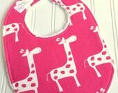 Baby Bib for Girl  - Single Bib - Triple Layer Chenille - CANDY PINK GIRAFFE