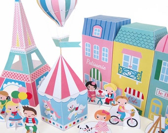 Paris Neighborhood Paper Playset Printable Paper Craft PDF