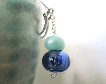 Blown Glass Earrings, Blue Glass, Sapphire Blue, Kryptonite Blue, Blue Hollow Glass, Kryptonite Spacers, Silver Earrings, Glass Jewelry,