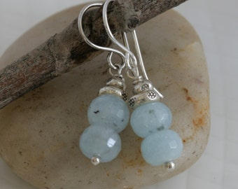 Faceted AQUAMARINE Sterling and Hill Tribe Silver Dangle Earrings